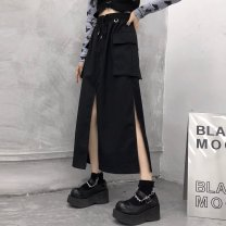 skirt Autumn 2020 S M L XL 2XL 3XL black Mid length dress commute High waist Pleated skirt Solid color Type A 18-24 years old jt952 More than 95% Emperor rhyme cotton Split Korean version Cotton 100% Pure e-commerce (online only)