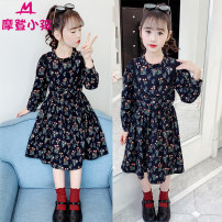 Dress Navy Blue female Modern kids 110cm 120cm 130cm 140cm 150cm 160cm Cotton 100% spring and autumn Korean version Long sleeves Broken flowers Pure cotton (100% cotton content) A-line skirt R-jasmine skirt Class B Summer 2020 Five, six, seven, eight, nine, ten, eleven, twelve Chinese Mainland