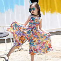 trousers Modern kids female 110cm 120cm 130cm 140cm 150cm 160cm 170cm Decor summer Cropped Trousers leisure time There are models in the real shooting Jumpsuit Leather belt middle-waisted cotton Don't open the crotch Cotton 60% polyamide 35% polyurethane elastic 5% Class B Summer of 2018