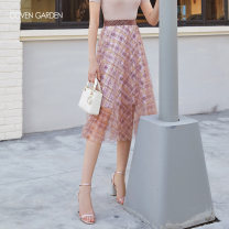 skirt Summer of 2019 XS S M L XL XXL Huanghuige 984 Mid length dress commute High waist A-line skirt lattice Type A 25-29 years old CZA2075110 More than 95% Coven Garden nylon Mesh splicing Simplicity Polyamide fiber (nylon) 100% Same model in shopping mall (sold online and offline)