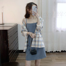 Women's large Spring 2021 [genuine] suit S,M,L,XL,2XL,3XL,4XL Two piece set commute Long sleeves lattice Korean version square neck puff sleeve ACOK-612514336475 acok 25-29 years old Short skirt