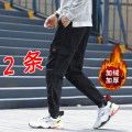 Casual pants WZE Youth fashion M L XL 2XL 3XL 4XL 5XL Plush and thicken trousers Other leisure easy Micro bomb winter youth tide 2019 middle-waisted Little feet Polyester 100% Overalls Pocket decoration washing Winter of 2019 Pure e-commerce (online only)