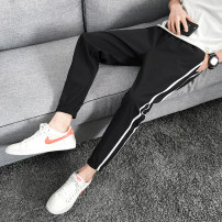 Casual pants WZE Youth fashion Black grey M L XL 2XL 3XL 4XL 5XL thin Ninth pants Other leisure Self cultivation two million eighteen thousand nine hundred and nineteen summer Youthful vigor 2019 Little feet Polyamide fiber (nylon) 85% polyurethane elastic fiber (spandex) 15% Sports pants washing