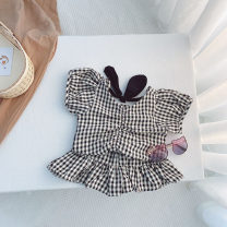 suit Sauter bear Plaid suit 80cm,90cm,100cm,110cm,120cm,130cm female summer Korean version 2 pieces Thin money There are models in the real shooting Socket nothing lattice cotton children birthday Class B Cotton 95% polyurethane elastic fiber (spandex) 5% Chinese Mainland Zhejiang Province Hangzhou