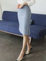 skirt Autumn of 2019 S M L XL Black light blue Middle-skirt commute High waist skirt Solid color Type H 25-29 years old More than 95% other The charm of benevolence other Splicing Korean version Other 100.0% Same model in shopping mall (sold online and offline)