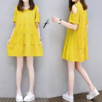 Dress Summer 2017 Gesture love pure black off shoulder skirt pure yellow off shoulder skirt M 3XL L XL 2XL Short skirt singleton  Short sleeve commute Crew neck Loose waist Solid color zipper Cake skirt Lotus leaf sleeve Hanging neck style 18-24 years old The charm of benevolence Korean version bow