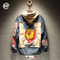 Jacket Wdtti Youth fashion Denim blue M L XL XXL XXXL routine easy Other leisure spring Cotton 93% viscose 4% polyester 3% Long sleeves Wear out Lapel Japanese Retro teenagers routine Single breasted Cloth hem washing Loose cuff Animal design Denim Winter 2017 Side seam pocket