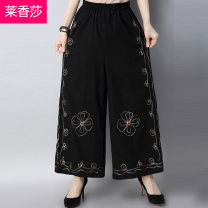Casual pants black M L XL Spring of 2018 trousers Wide leg pants Natural waist commute routine 25-29 years old LXS18CK0163 Leschampa ethnic style Other 100% Pure e-commerce (online only)
