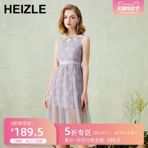 Dress Summer of 2019 Pink Purple S M L XL Mid length dress singleton  Sleeveless commute Crew neck High waist Solid color A button A-line skirt other Others 25-29 years old Type A heizle Retro Water soluble lace with hollow mesh lace 51% (inclusive) - 70% (inclusive) nylon