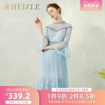 Dress Autumn 2020 wathet S M L XL Mid length dress singleton  three quarter sleeve commute stand collar High waist Solid color zipper A-line skirt pagoda sleeve Others 25-29 years old Type A heizle Retro Flounce open back lace mesh lace 5221022A More than 95% Lace other Other 100%