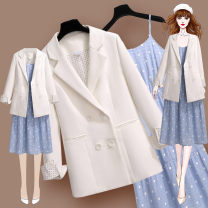 Dress Spring 2021 210723 white suit 210705 suspender skirt S M L XL Mid length dress Two piece set Long sleeves commute tailored collar High waist Dot Socket A-line skirt routine Others 25-29 years old Meen'cou / mengkou Korean version Pocket panel button 210723+210705#2 More than 95% Chiffon other