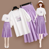 Fashion suit Summer 2021 S M L XL 212389 purple T-shirt 212391 purple skirt 18-25 years old Meen'cou / mengkou 212389+212391#2 Other 100% Pure e-commerce (online only)