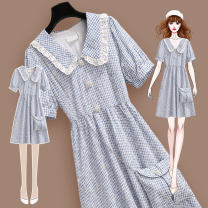 Dress Summer 2021 217155 blue dress (with cloth bag) S M L XL Mid length dress singleton  Short sleeve commute Doll Collar High waist lattice Three buttons A-line skirt routine Others 25-29 years old Type A Meen'cou / mengkou Korean version Embroidered chain stitching button 217155#2 More than 95%