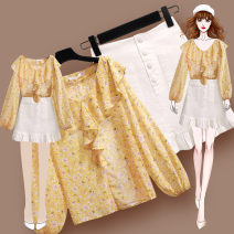 Fashion suit Spring 2021 S M L XL 206075 white shirt 206075 yellow shirt 212225 white skirt 18-25 years old Meen'cou / mengkou 206075+212225#2 Other 100% Pure e-commerce (online only)