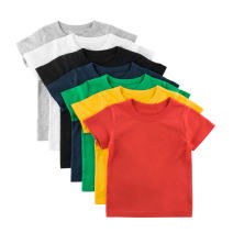 T-shirt 9947 precious cluster blue, 9947 black, 9947 grey, 9947 golden yellow, 9947 fruit green, 9947 beibai, 9947 rust red, 9947 color blue, 9947 pink 27KIDS 140cm,130cm,120cm,110cm,100cm,90cm female summer Short sleeve Crew neck Korean version No model cotton Solid color Class A Sweat absorption
