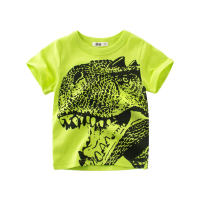 T-shirt 9567 m white Tyrannosaurus Rex head, 9567 fluorescent green Tyrannosaurus Rex head 140cm,130cm,120cm,110cm,100cm,90cm female summer Short sleeve Crew neck Korean version No model cotton animal Class A 3 months Chinese Mainland