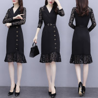 Dress Autumn 2020 black M L XL 2XL 3XL Mid length dress singleton  Long sleeves commute V-neck middle-waisted Solid color Socket A-line skirt routine Others 18-24 years old Type A Labran Korean version AHNN64550 More than 95% Lace other Other 100%