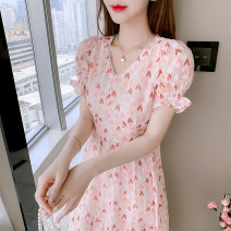 Dress Spring 2021 Picture color S M L XL 2XL longuette singleton  Long sleeves commute V-neck middle-waisted Solid color Socket other routine Others 18-24 years old Type A Labran Korean version More than 95% Chiffon other Other 100%