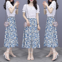 Dress Summer 2021 White blue suit white green suit S M L XL 2XL Mid length dress Two piece set Short sleeve 18-24 years old Labran wCCT78488 More than 95% Chiffon other Other 100%