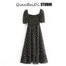 Dress Summer 2020 black S,M,L Mid length dress singleton  Short sleeve commute square neck High waist Type A