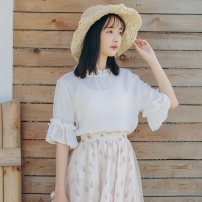 T-shirt white S M L XL Summer of 2019 elbow sleeve Crew neck easy Regular Lotus leaf sleeve commute other 96% and above 18-24 years old Simplicity other Solid color Other 100% Pure e-commerce (online only)