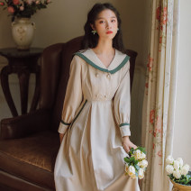 Dress Winter of 2019 Light apricot S M L XL Mid length dress singleton  Long sleeves commute Admiral High waist Solid color Socket A-line skirt other Others 18-24 years old Type A Gesture rose Korean version Button N765 More than 95% polyester fiber Polyester 100% Pure e-commerce (online only)