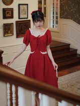 Dress Summer 2020 Red, red short S,M,L Mid length dress singleton  Short sleeve commute square neck Solid color zipper Princess Dress puff sleeve Hanging neck style 18-24 years old Type A Retro