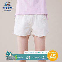 trousers Boys and girls female 120cm 130cm 140cm 150cm 160cm 170cm White purple summer shorts leisure time Casual pants Leather belt middle-waisted cotton Don't open the crotch Cotton 100% Class B Summer 2020 Chinese Mainland