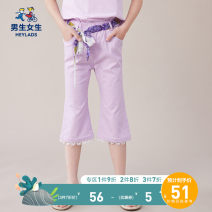 trousers Boys and girls female 120cm 130cm 140cm 150cm 160cm 170cm White purple summer Cropped Trousers leisure time Casual pants Leather belt middle-waisted Cotton blended fabric Don't open the crotch Cotton 65% polyurethane elastic fiber (spandex) 32% viscose fiber (viscose) 3% NPXEJ29555A Class B