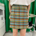 skirt Summer 2020 M L XL Picture color Short skirt commute High waist A-line skirt lattice Type A 18-24 years old More than 95% Hongxu polyester fiber Korean version Polyester 100% Exclusive payment of tmall