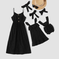 Parent child fashion Other / other female Women's dress 000 summer Europe and America routine Solid color skirt Cotton and hemp L,M,S,XL 9588 Class A 12 months, 18 months, 2 years, 3 years, 4 years, 5 years, 6 years, 7 years, 8 years, 3 months, 6 months, 9 months Black, light blue