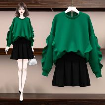 Women's large Spring 2021 Green top + short skirt [pay attention to first hair], black top + short skirt [pay attention to first hair], single green top [pay attention to first hair], single black top [pay attention to first hair], black pleated skirt [pay attention to first hair] Dress Two piece set