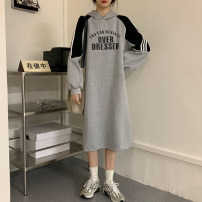 Dress Winter 2020 Grey black M L XL longuette singleton  Long sleeves commute Hood Loose waist letter Socket other routine Others 18-24 years old Shadow Tong's posture Korean version tie-dyed More than 95% polyester fiber Polyester 100% Exclusive payment of tmall