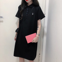 Women's large Spring 2021 Black grey M L XL T-shirt singleton  commute easy thin Socket Short sleeve Cartoon animation Korean version Polo collar Medium length cotton printing and dyeing routine Shadow Tong's posture 18-24 years old tie-dyed 30% and below Exclusive payment of tmall