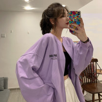 Dress Spring 2021 Orange purple white green M L XL Mid length dress singleton  Long sleeves commute stand collar Loose waist letter zipper routine 18-24 years old Shadow Tong's posture Korean version printing 71% (inclusive) - 80% (inclusive) polyester fiber Polyester 75% cotton 25%