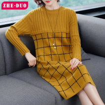 Women's large Autumn 2020 Camel yellow black S (within 110 kg recommended) m (105-115 kg recommended) l (112-125 kg recommended) XL (125-135 kg recommended) 2XL (135-155 kg recommended) Dress singleton  commute easy moderate Socket Long sleeves lattice lady Crew neck Medium length routine other