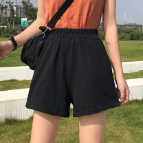 Casual pants black S M L XL 2XL 3XL Summer of 2019 shorts Wide leg pants High waist commute routine 18-24 years old Yinyanna Korean version polyester fiber Polyester 95% polyurethane elastic fiber (spandex) 5% Exclusive payment of tmall