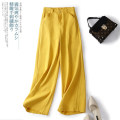 Casual pants White, yellow, black, orange M [90-103 Jin], l [103-115 Jin], XL [115-127 Jin], 2XL [127-140 Jin], 3XL [140-153 Jin] Spring 2021 trousers Wide leg pants Natural waist Versatile routine Other / other hemp Three dimensional decoration hemp