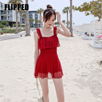 one piece  Felid M,L,XL,XXL Orange, red Skirt one piece With chest pad without steel support Spandex, polyester, others FL20NY057 female Sleeveless Casual swimsuit Solid color backless