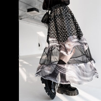 skirt Spring 2021 S M L black Mid length dress street High waist A-line skirt other Type A 18-24 years old More than 95% Chiffon chicsky polyester fiber Tie dye stitching Polyester 100% Pure e-commerce (online only)