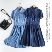 Dress Spring 2020 Dark blue, light blue S,M,L,XL,2XL,3XL,4XL Mid length dress singleton  Long sleeves commute square neck Elastic waist Solid color Single breasted Big swing routine Type X MUMUYICHU Korean version Pocket, button 71% (inclusive) - 80% (inclusive) other