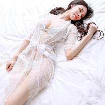 Nightdress Angel of tenderness White three piece set, black three piece set Average size sexy Middle sleeve pajamas Short skirt summer Solid color youth V-neck Polyester (polyester) Hollowing out Less than 20% Lace fabric 200g and below