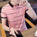 T-shirt Youth fashion routine M L XL XXL XXXL Dream boy Short sleeve Lapel Self cultivation daily summer ZM9015 Cotton 95% polyurethane elastic fiber (spandex) 5% teenagers routine like a breath of fresh air Cotton wool Spring of 2019 stripe printing Cotton ammonia Geometric pattern washing