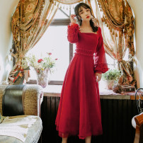 Dress Winter of 2019 claret S,M,L longuette singleton  Long sleeves commute square neck High waist Solid color zipper Big swing bishop sleeve Others 18-24 years old Type A Other / other Retro Stitching, lace