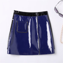 skirt Autumn of 2018 S M L XL 2XL Black patent leather Royal Blue Patent Leather Short skirt commute High waist A-line skirt Solid color Type A 25-29 years old More than 95% Sheepskin Osutina other Korean version Sheepskin Pure e-commerce (online only)