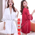 Pajamas / housewear set female Other / other M,L,XL Iced silk Middle sleeve sexy pajamas summer Thin money V-neck Solid color Socket youth 2 pieces More than 95% silk Embroidery 200g and below Short skirt