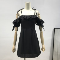Dress Summer of 2019 Black, lotus pink S,M,L Short skirt singleton  commute One word collar High waist Solid color zipper Ruffle Skirt camisole lady Open back, Ruffle F004 51% (inclusive) - 70% (inclusive) polyester fiber