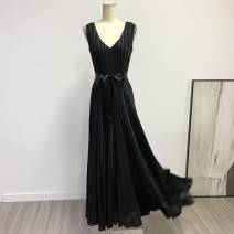 Dress Summer 2021 black longuette singleton  Sleeveless commute V-neck High waist Solid color zipper Big swing Type A L001 More than 95% polyester fiber
