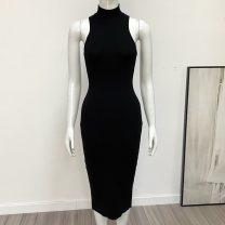 Dress Summer 2020 Black, red S,M,L Mid length dress singleton  Sleeveless commute Half high collar High waist Solid color Socket Pencil skirt Retro M019 51% (inclusive) - 70% (inclusive) polyester fiber