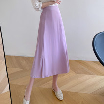skirt Summer 2021 S,M,L,XL Black, purple, green Mid length dress commute High waist A-line skirt Solid color Type A 18-24 years old 81% (inclusive) - 90% (inclusive) other polyester fiber zipper Korean version